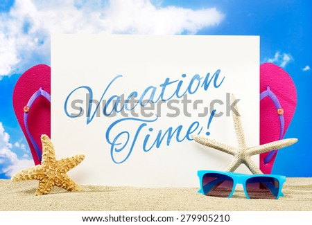 Vacation time banner - stock photo