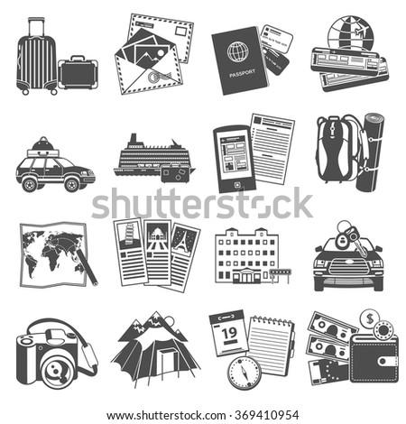 Vacation travel icons set black - stock photo