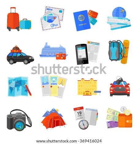 Vacation travel icons set flat - stock photo