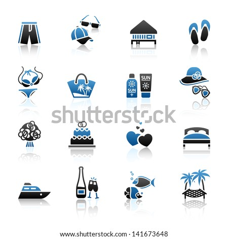 Vacation, Travel & Recreation, icons set. Tourism, Sport with reflection. Vector version (eps) also available in gallery - stock photo