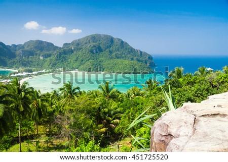 Vacation Wallpaper Azure Bay  - stock photo