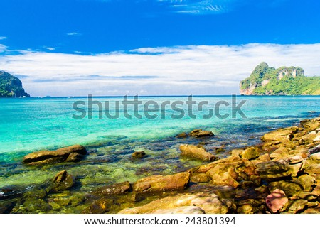 Vacation Wallpaper Caribbean Blue  - stock photo