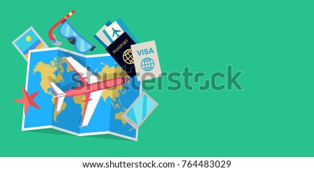 Vacation web banner aircraft suitcase luggage stock illustration aircraft suitcase with luggage world map tickets passport gumiabroncs Images