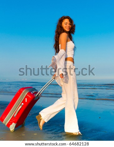 Vacation Woman Suitcase - stock photo