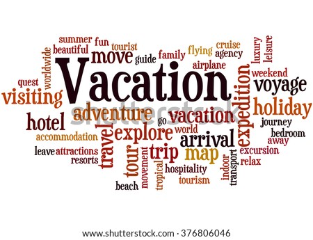 Vacation Word Cloud Concept On White Stock Illustration ...