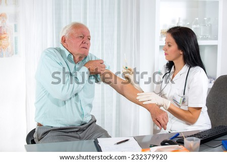 Vaccinating An Elderly Person - stock photo