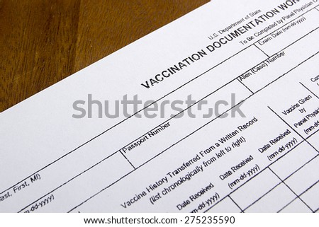 Vaccination Documentation sheet for filling in the performance of vaccination. - stock photo