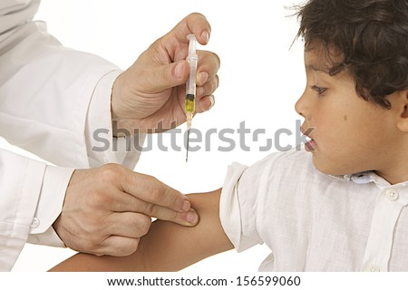 vaccination of a child syringe, vaccine little boy - stock photo