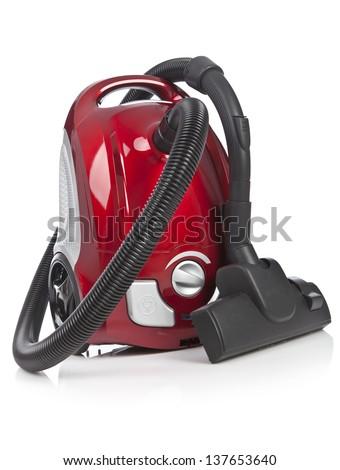 Vacuum cleaner isolated on white background - stock photo