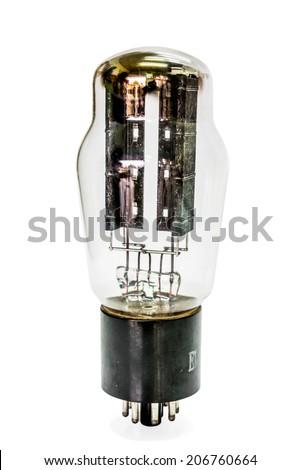 Vacuum electronic amplifier tube. Isolated image on white background - stock photo