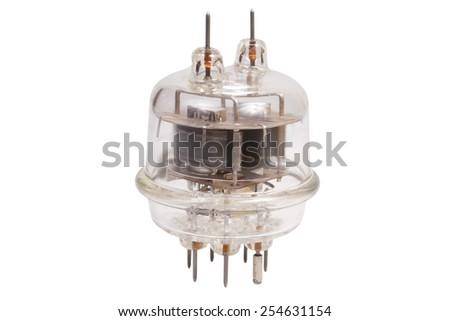 Vacuum electronic radio tube isolated on white background - stock photo
