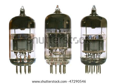 Vacuum electronic radio tubes. Isolated image on white background - stock photo