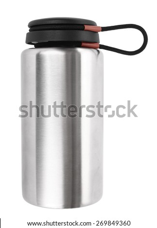 Vacuum flask thermos isolated on white - stock photo