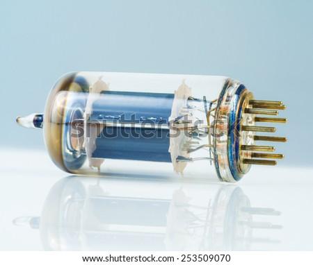 vacuum tube on white background - stock photo