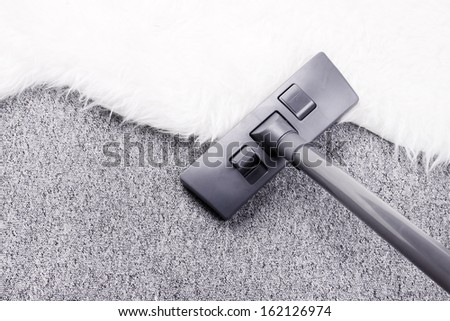 Vacuuming furry carpet - stock photo