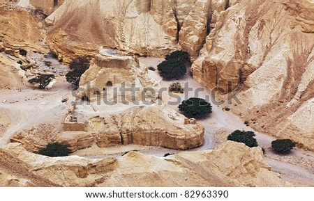 Vadi and ancient ruins in the Negev desert - Israel - stock photo