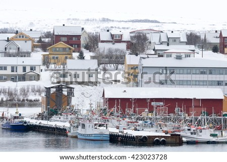 Vadso is a municipality in Finnmark county, the far northeaster part of Norway Harbor on March 26, 2016