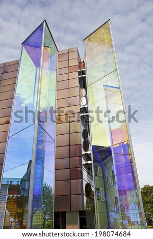 VADUZ, LIECHTENSTEIN - MAY 10, 2014: The glass sculptures in shape of two towers of triangular section made of a special steamed glass, design by German artist Heinz Mack - stock photo