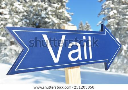 Vail arrow agaist snowy forest - stock photo