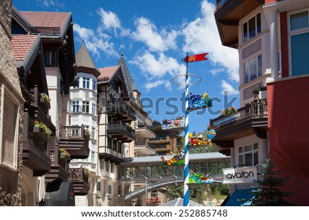 Vail,USA-July 16,2013:The Town of Vail is a Home Rule Municipality in Eagle County, Colorado.The town was established and built as the base village to Vail Ski Resort,  - stock photo