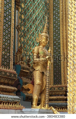 Vaisravana is the chief of the Four Heavenly Kings in The Royal Grand Palace (Wat Phra Kaew) ,Bangkok Thailand