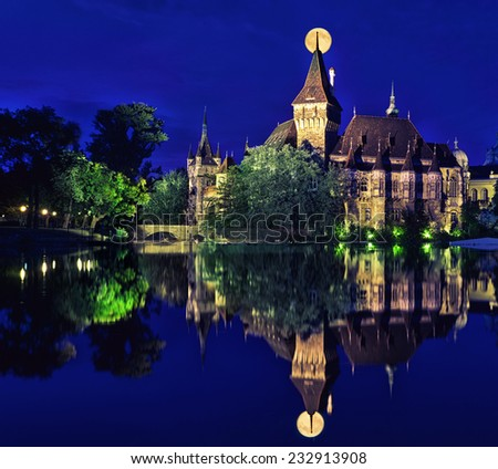 Vajdahunyad Castle in a fullmoon is reflected in water, Budapest - stock photo