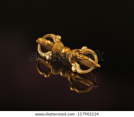 Vajra (Diamond Thunderbolt), The vajra is the central symbol and an important ritual object in Vajrayana Buddhism. Ulaanbaatar, Mongolia - stock photo