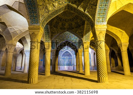 Vakil Mosque, a mosque in Shiraz, southern Iran. This mosque was built between 1751 and 1773, during the Zand period - stock photo