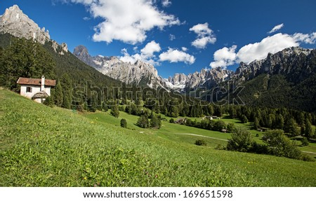 Val Canali.  Pale di San Martino.  Region Trentino, Italy - stock photo