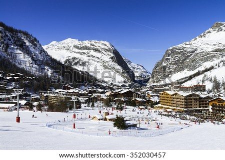 VAL D'ISERE, FRANCE - FEBUARY 10, 2015 : Val D'Isere station-the luxury and famous ski resort in Tarentaise, french alps, France in winter