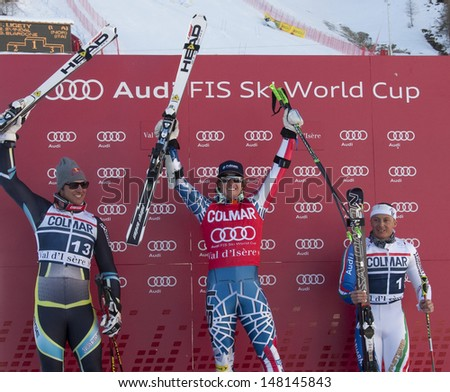VAL D'ISERE FRANCE. 11-12-2010. from left to right SVINDAL Aksel Lund (NOR)  LIGETY Ted (USA)  winner and BLARDONE Massimiliano (ITA) at the FIS alpine skiing world cup giant slalom race