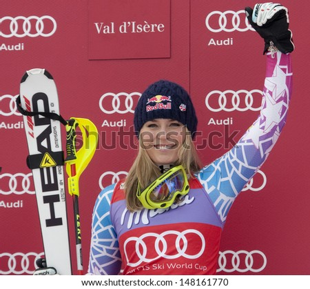 VAL D'ISERE FRANCE. 19-12-2010. Lindsey Vonn (USA) during the medal ceremony for the women's Super Combined race at the FIS Alpine skiing World Cup Val D'Isere France.  - stock photo