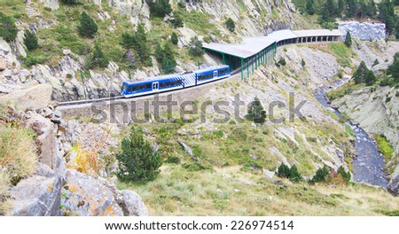 VAL DE NURIA, SPAIN - OCT 9, 2014: Rack railway of Vall de Nuria in the Eastern Pyrenees Mountains in Spain