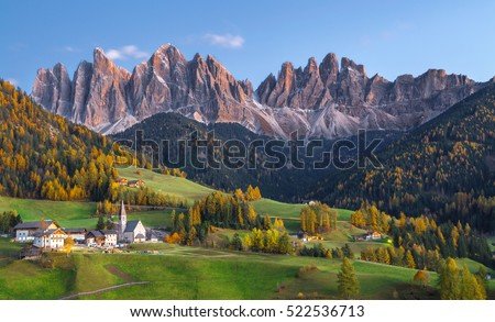 Val di Funes View of The Dolomites mountain village in autumn, Bolzano, Italy