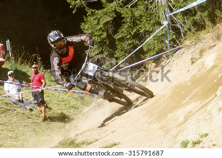 Val Di Sole, Italy - 22 August 2015: Chapuis Maxime in action during the mens elite Downhill final World Cup at the Uci Mountain Bike in Val di Sole, Trento, Italy