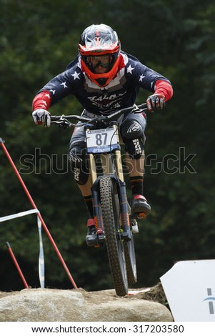 Val Di Sole, Italy - 22 August 2015: Jauch Jasper, in action during the mens elite Downhill final World Cup at the Uci Mountain Bike in Val di Sole, Trento, Italy