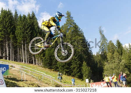 Val Di Sole, Italy - 22 August 2015: Lapierre Gravity Republic Team rider Vergier Loris, in action during the mens elite Downhill final World Cup at the Uci Mountain Bike in Val di Sole, Trento, Italy