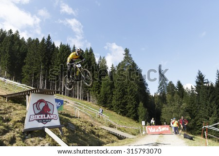 Val Di Sole, Italy - 22 August 2015: POMBO Emanuel in action during the mens elite Downhill final World Cup at the Uci Mountain Bike in Val di Sole, Trento, Italy