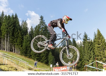 Val Di Sole, Italy - 22 August 2015: RACAUD Felix in action during the mens elite Downhill final World Cup at the Uci Mountain Bike in Val di Sole, Trento, Italy