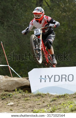 Val Di Sole, Italy - 22 August 2015: TREK WORLD RACING Team,  Rider WILLIAMSON Greg, in action during the mens elite Downhill final World Cup at the Uci Mountain Bike in Val di Sole, Trento, Italy