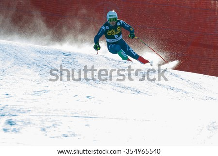 Val Gardena, Italy 19 December 2015. Fill Peter (Ita) competing in the Audi Fis Alpine Skiing World Cup Men's Downhill Race on the Saslong Course in the dolomite mountain range.