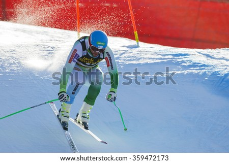 Val Gardena, Italy 19 December 2015.  Kline Bostjan (Slo) competing in the Audi Fis Alpine Skiing World Cup Men's Downhill Race on the Saslong Course in the dolomite mountain rang