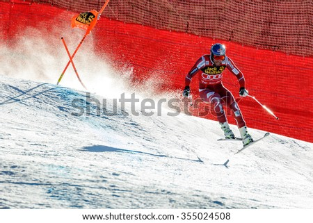Val Gardena, Italy 19 December 2015. SVINDAL Aksel Lund (Nor) competing in the Audi Fis Alpine Skiing World Cup Men's Downhill Race on the Saslong Course in the dolomite mountain range.