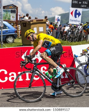 VAL LOURON,FRANCE - JUL 7: The British cyclists Christopher Froome (Sky Procycling Team) wearing the Yellow Jersey passing Col de Val Lauron-Azet during the stage 9 of Le Tour de France on July 7 2013.