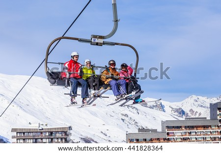 VAL THORENS, FRANCE - JANUARY 27, 2016: Ski lift.  Ski resort  Val Thorens. France