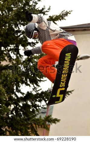 VALASKA, SLOVAKIA - JANUARY 15: Jaroslav Dujsik of Slovak republic participates in the Big air  January 15, 2011 in Valaska, Slovakia. - stock photo