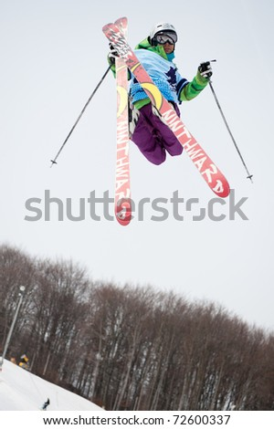 VALCA, SLOVAKIA - FEBRUARY 13: jump of  Juraj Bernat at Nokia Freestyle Tour 2011 February 13, 2011 in Valca, Slovakia - stock photo