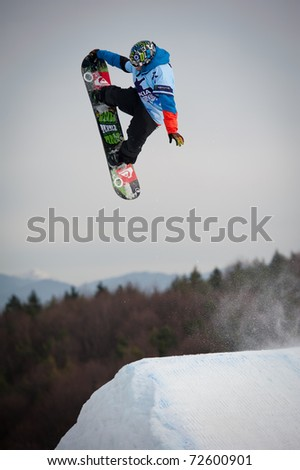 VALCA, SLOVAKIA - FEBRUARY 13: jump of  Matej Matysin final round of Nokia Freestyle Tour 2011 on February 13, 2011 in Valca, Slovakia - stock photo