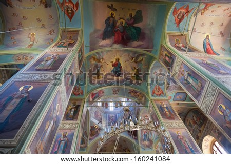VALDAY, RUSSIA - AUGUST 19: Interior of the Assumption Cathedral in Iversky Monastery  August 19, 2012 in Valday, Russia. Monastery was founded by Patriarch Nikon in 1653 - stock photo