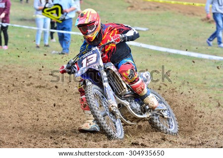 VALDESOTO, SPAIN - AUGUST 8: Asturias Motocross Championship in August 8, 2015 in Valdesoto, Spain. Fernando Galvan rider with the number 723